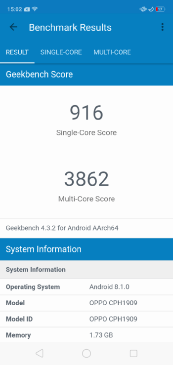OPPO A5s в Geekbench