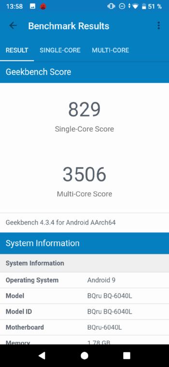 BQ-6040L Magic в Geekbench