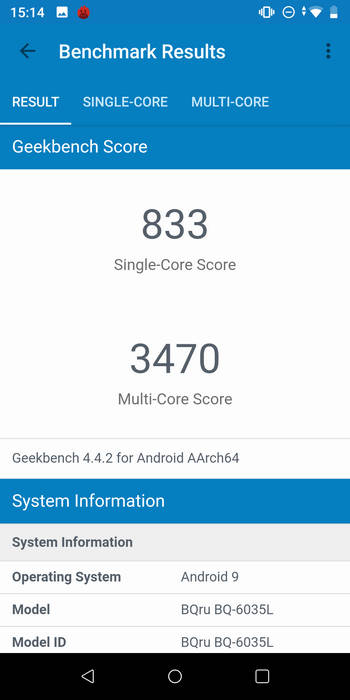 BQ 6035L Strike Power Max в Geekbench