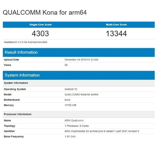 Результаты Snapdragon 865 в Geekbench