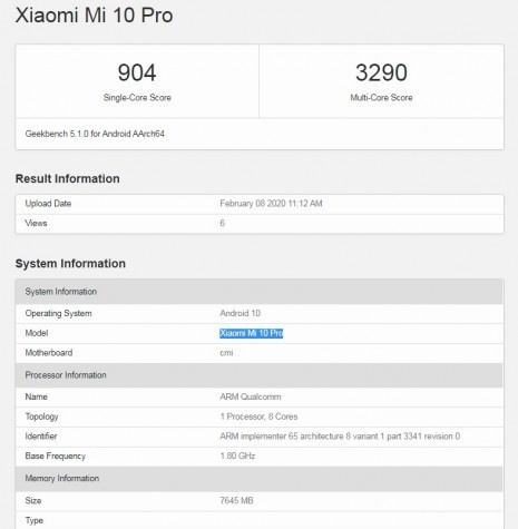 Xiaomi Mi 10 в Geekbench