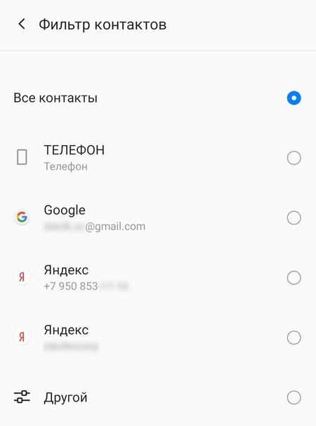 Отображение контактов в телефоне