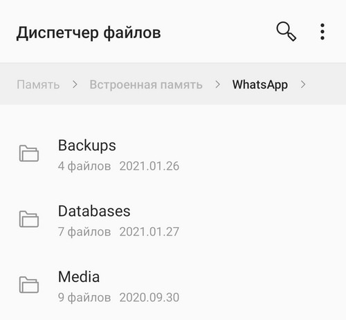 Папка WhatsApp