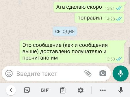 Синие галочки в WhatsApp